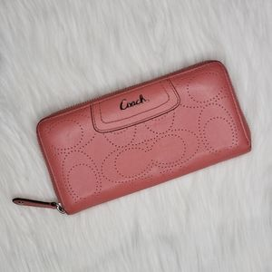 Coach Perforated Signature C Large Pink Wallet